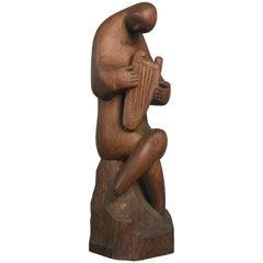 Modernist Wood Sculpture Harp Player Musician Figure Mid-Century Modern Art