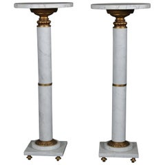 Pair of Italian Neoclassical Marble and Gilt Sculpture Display Pedestals