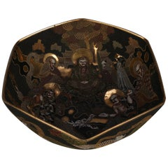 Antique Large Japanese Satsuma Bas Relief Porcelain Center Bowl with Figures