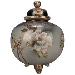 Antique Japanese Satsuma Hand Painted and Gilt Porcelain Lidded and Footed Jar