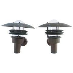 Pair of Danish Midcentury Outdoor Copper Lamps