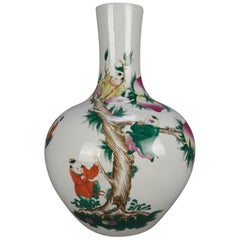 Oversized Antique Chinese Hand Painted Bulbous Vase, Tree & Figures 20th Century