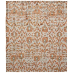 Rumi 'Pinsky-Sunset' Hand Knotted, Natural Silk, Ikat Rug