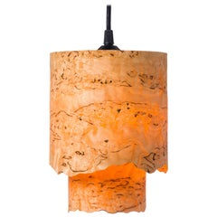 CIRCA Custom Karelian Burl Wood with Live Edge Cylinder Pendant