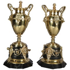 Pair of Italian Egyptian Revival Polished Bronze and Marble Figural Urns
