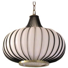 1960s Modernist Brass and Glass Onion Form Pendant Chandelier