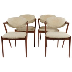 Four Kai Kristiansen Chairs in Teak with Original Upholstery