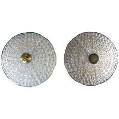 Pair of Carl Fagerlund Brass and Glass Flush Mount Lights