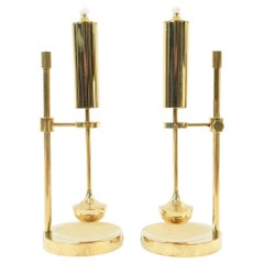 Pair of Brass Midcentury Copenhagen Gyro Oil Lamps
