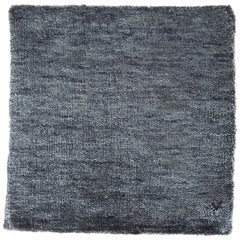 Bamboo Silk Hand-Loomed Solid Neutral Blue Color Rug with Hints of Grey