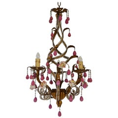 Brass and Ceramic Drop Chandelier with Porcelain Flowers, Italy