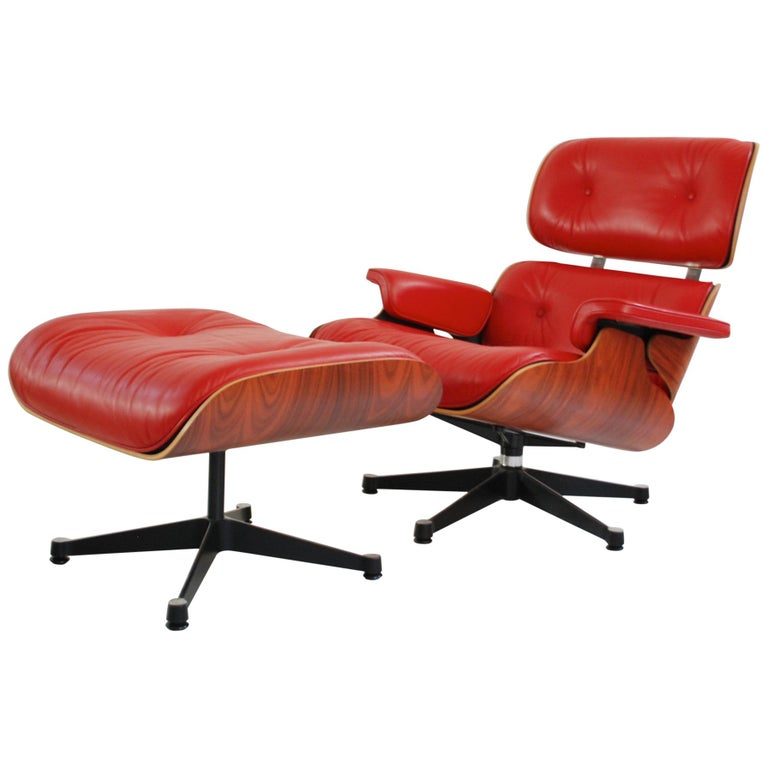 Vitra Lounge Chair Red Leather Santos Rosewood Charles/ Ray Eames, 2007