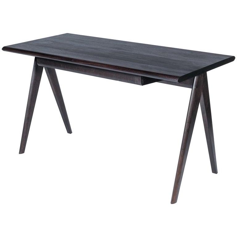 Crest Desk by Tretiak Works, Oxidized Walnut Handmade Contemporary Basic Desk For Sale