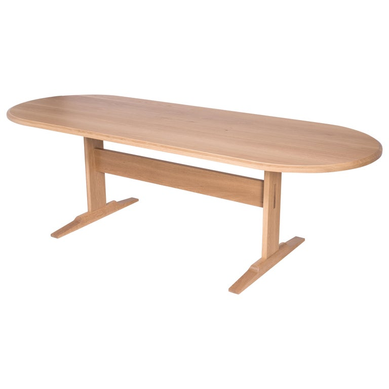 Spade Dining Table by Tretiak Works, Modern Contemporary White Oak Trestle For Sale