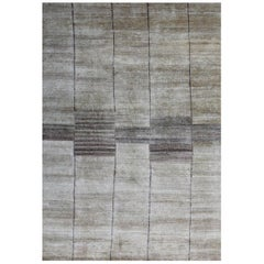 Ivory Silk Runner Rug, Hand Knotted, Natural Silk, Contemporary, Rumi 'Hafiz'