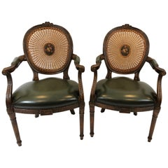 Stately Pair of Caned Carved Walnut and Supple Green Leather Armchairs