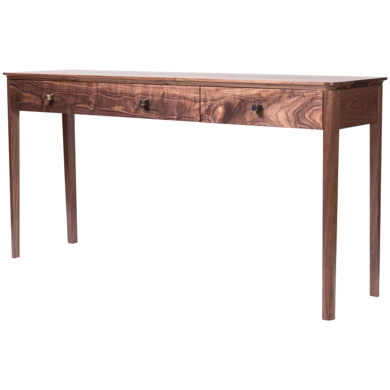 Basin Console Table in Walnut by Tretiak Works, Modern Contemporary Hall Sofa For Sale