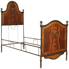 Italian 19th Century Bed Wrought Iron, Decorated with Mother of Pearl Scales