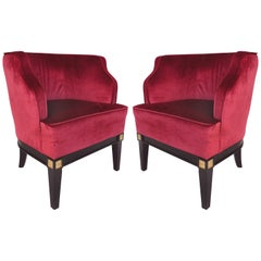 Upholstered Club Chairs in Velvet upon Wooden Frames