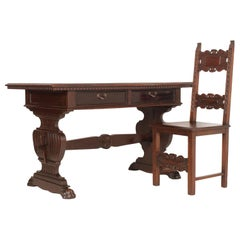 Mid-19th Century Tuscan Renaissance Antique Table Desk Hand Carved Solid Walnut