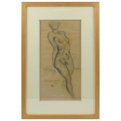 French Marie Louise Simard 1934 Nude Female Study Pencil Drawing on Paper