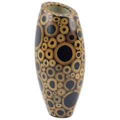 R & Y Augousti Paris Sculptural Bamboo Geometric Marquetry Vase