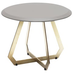 Fetish Table Brass and Grey Leather, Side Table, Small