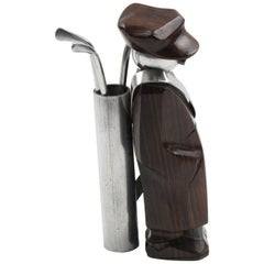 French Art Deco Barware Cocktail Picks Set Macassar and Aluminum Golf Caddie