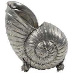 Modernist Chrome Nautilus Sea Shell Wine Cooler Bottle Holder Vase