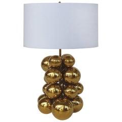 Contemporary Sculptural Brass Balls Table Lamp