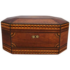 Antique Mahogany Marquetry Jewelry Box, Ebonized and Satinwood Inlay