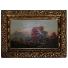 Antique Folk Art Oil on Board Landscape Painting with Farm, 20th Century