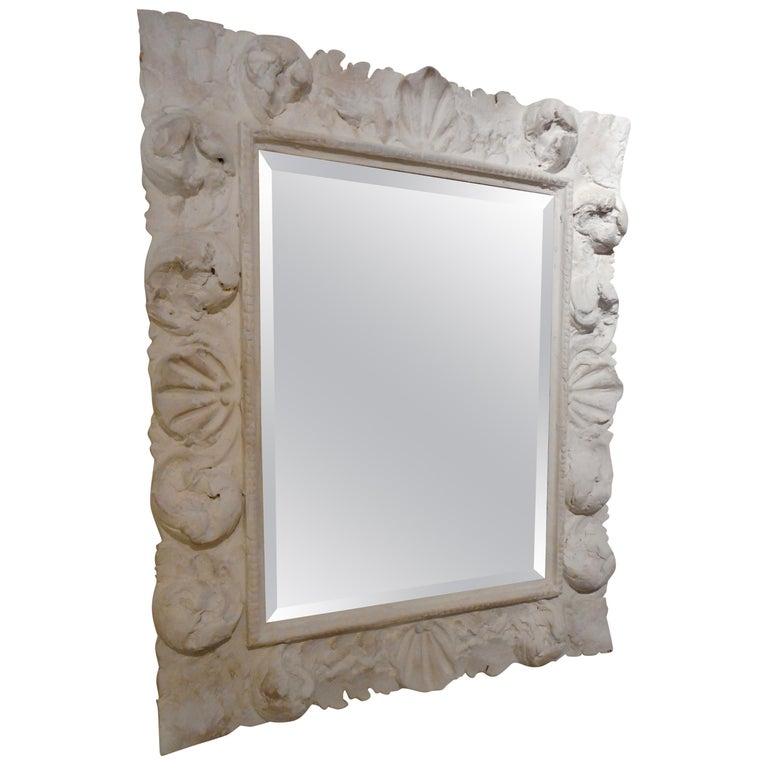 Fine Baroque Plaster Mirror, France 1940 1