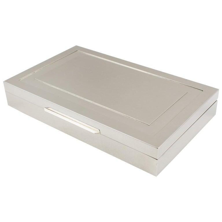 Italian Modernist 1970s Chrome Metal Decorative Box For Sale