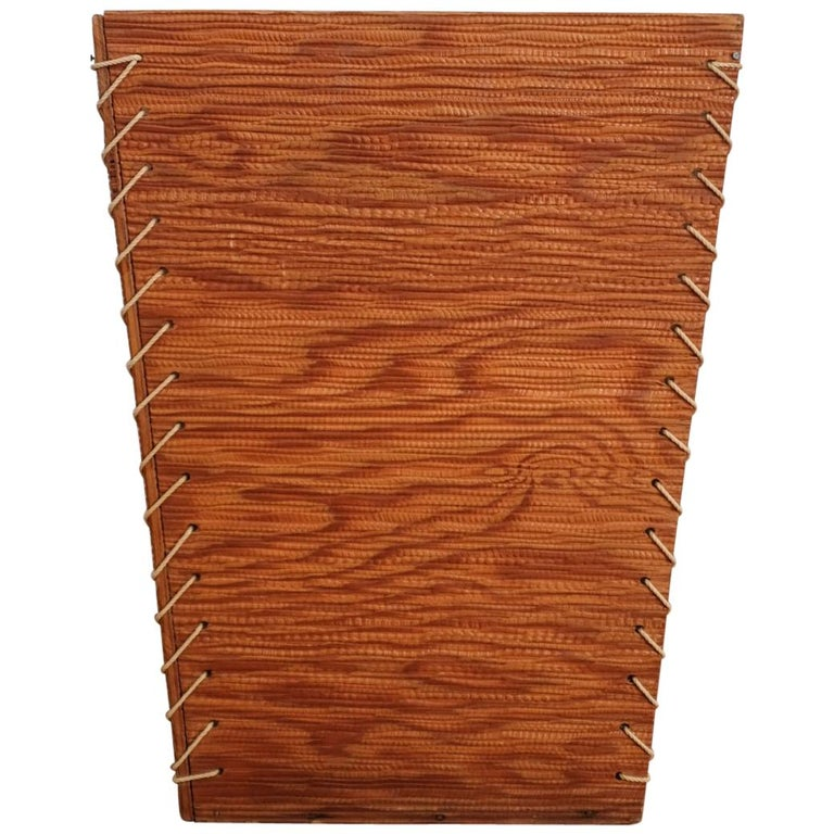 Rope and Wood Wastepaper Basket, 1950s For Sale