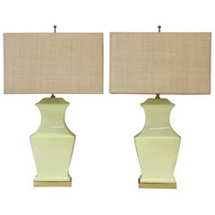 1960s Modern Yellow Pottery and Brass Table Lamps