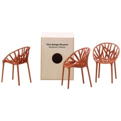 Miniature Vitra Vegetal Chairs in Brick by Ronan & Erwan Bouroullec 'Set of 3'