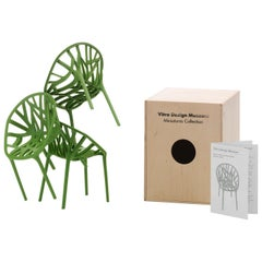 Miniature Vitra Vegetal Chairs in Green by Ronan & Erwan Bouroullec, Set of 3