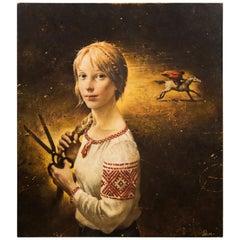 "Sergei Rimoshevski ""Horseman"" Oil on Canvas"