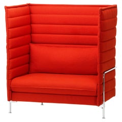 Vitra Alcove High Back Loveseat in Poppy Red Laser by Ronan & Erwan Bouroullec