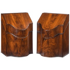 Pair of George III Period Mahogany Knife Boxes
