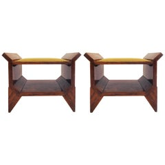 Italian Architectural Art Deco Entrance Stools in Walnut Root