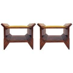 Italienische Architektur Art-Deco-Eingang Stühle in Nussbaum Wurzel