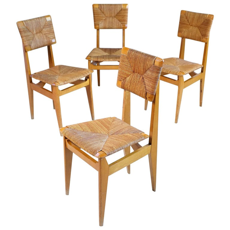 Set of 4 Chairs Model C Marcel Gascoin, France, 1950 For Sale