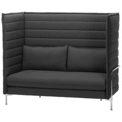 Vitra Alcove High Back 2-Seat Sofa in Dark Gray Volo by Ronan & Erwan Bouroullec