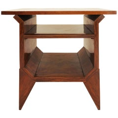 Italian Architectural Art Deco Entrance Gueridon Table in Walnut Root