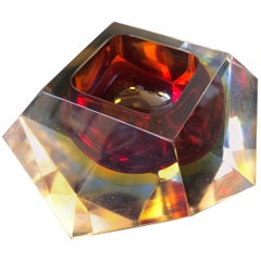 Seguso Attributed Red Sommerso Murano Glass Ashtray, circa 1970