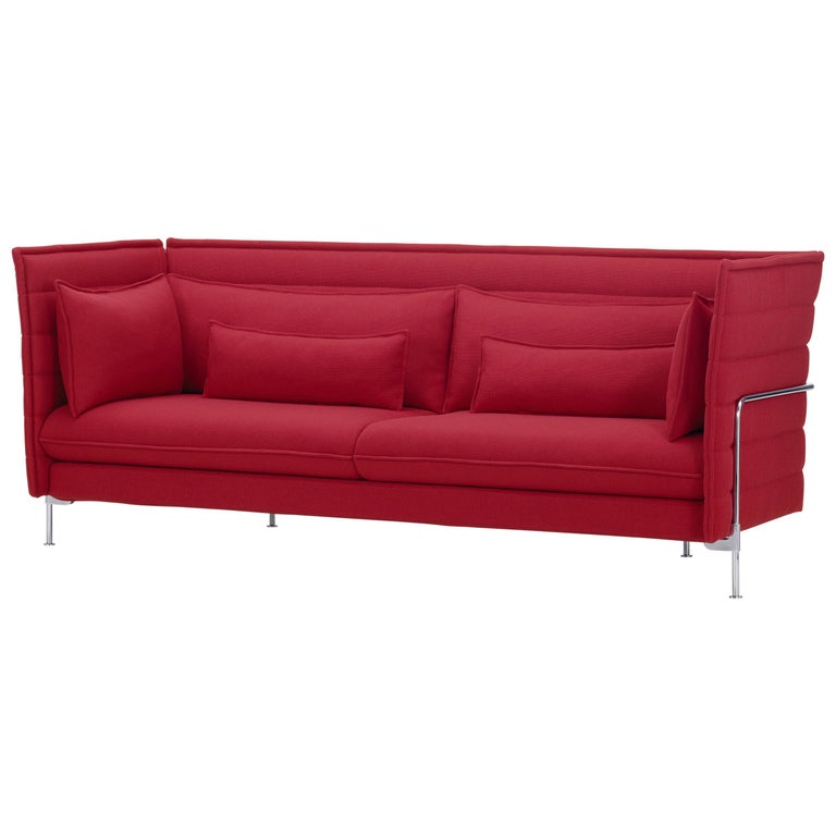 Vitra Alcove 3-Seater Sofa in Dark Red Laser by Ronan & Erwan Bouroullec For Sale