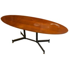 Mid-Century Modern Wood Brass and Black Metal Oval Italian Coffee Table, 1960