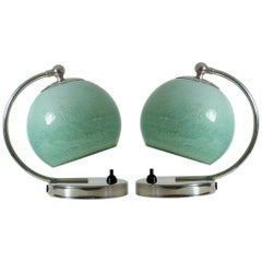 German Bauhaus Art Deco Chrome Table Lamps Mint Opal Shades, Set of 2, 1930s